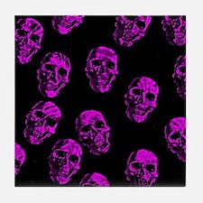 Purple SKULLS Tile Coaster