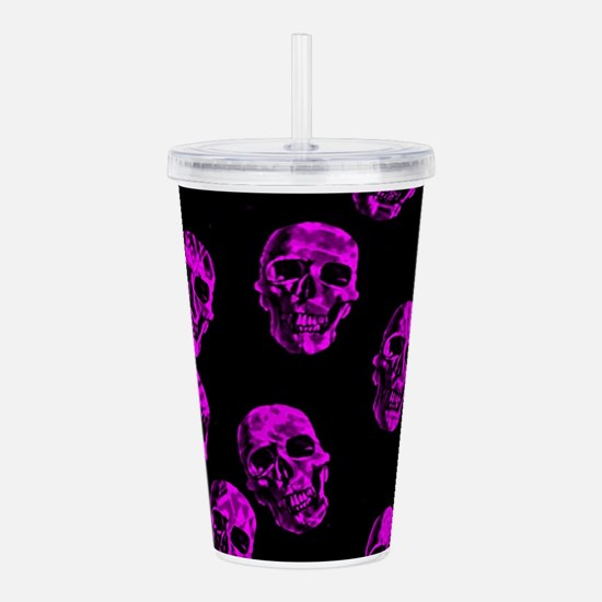 Purple SKULLS Acrylic Double-wall Tumbler