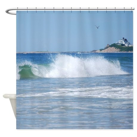 breaking ocean wave shower curtain