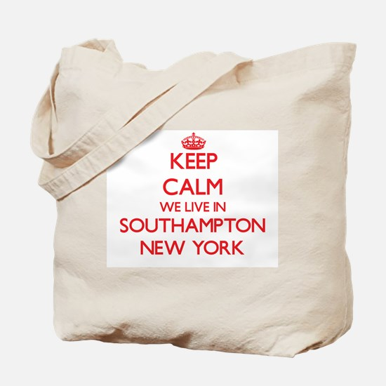Keep calm we live in Southampton New York Tote Bag