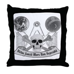 Masonic virtue in black and white Throw Pillow