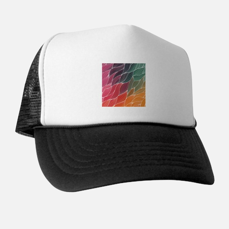 Multi Colored Waves Abstract Design Trucker Hat