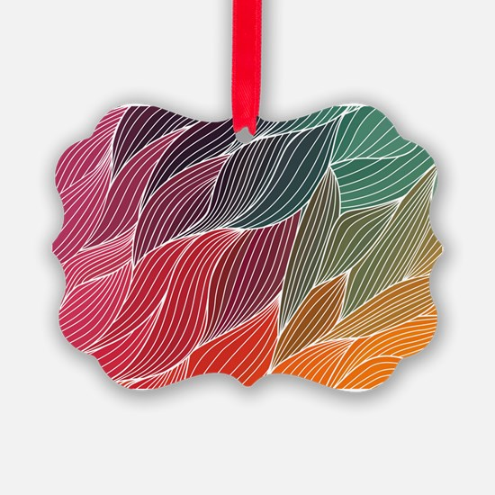 Multi Colored Waves Abstract Desi Ornament