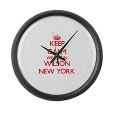 Keep calm we live in Wilson New Y Large Wall Clock