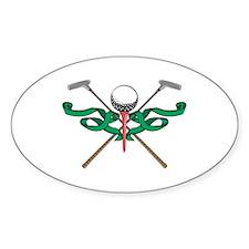 Green Ribbon Golf Emblem Oval Decal
