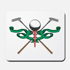 Green Ribbon Golf Emblem Mousepad