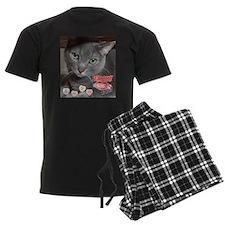 Valentine Russian Blue Gray Cat Pajamas