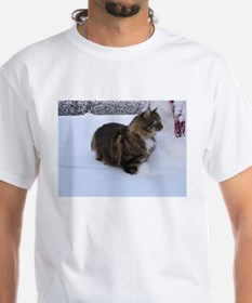 norwegian forest cat in snow T-Shirt
