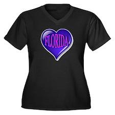 FLORIDA Blue Women's Plus Size V-Neck Dark T-Shirt