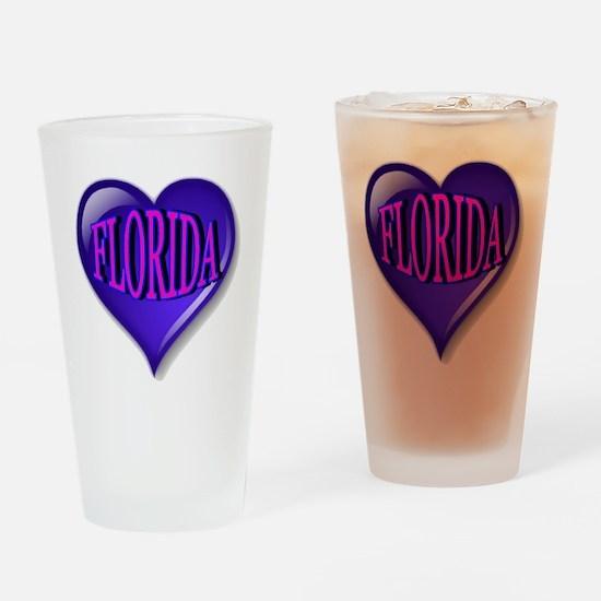 FLORIDA Blue Diamond Heart Drinking Glass