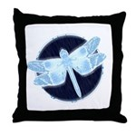 Crystal Blue Dragonfly Throw Pillow