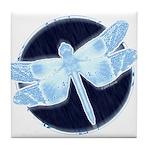 Crystal Blue Dragonfly Tile Coaster