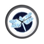 Crystal Blue Dragonfly Wall Clock