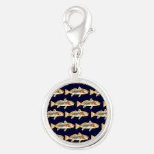 redfish dark blue pattern Silver Round Charm