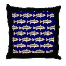redfish bright blue pattern Throw Pillow