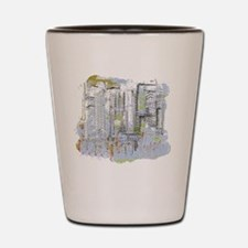 City in Blue, Gold, Green Shot Glass