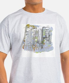 City in Blue, Gold, Green T-Shirt