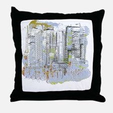 City in Blue, Gold, Green Throw Pillow