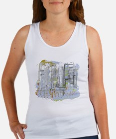 City in Blue, Gold, Green Women's Tank Top
