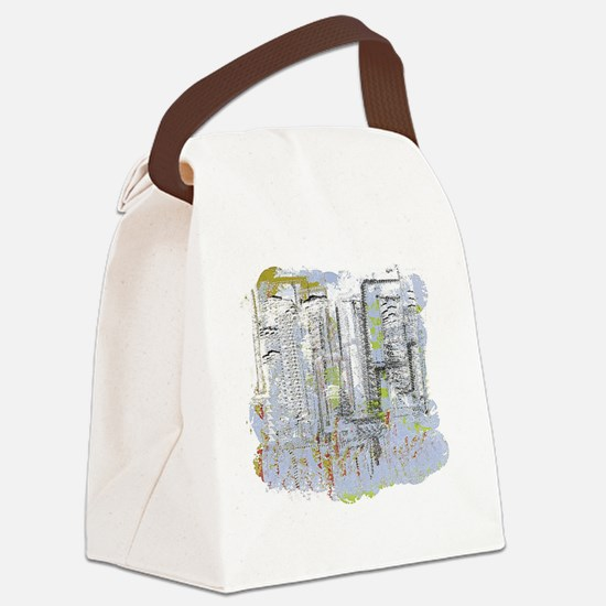 City in Blue, Gold, Green Canvas Lunch Bag