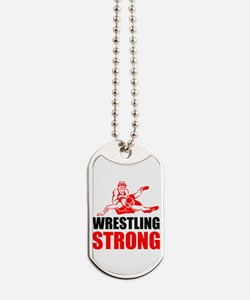 Wrestling Strong Dog Tags
