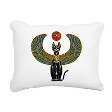 Ornate Eqyptian Cat Gode Rectangular Canvas Pillow
