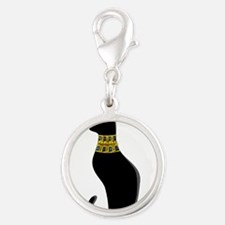 Black Eqyptian Cat with Gold Jeweled Collar Charms