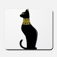 Black Eqyptian Cat with Gold Jeweled Col Mousepad