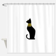 Black Eqyptian Cat with Gold Jewele Shower Curtain