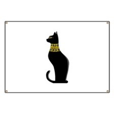 Black Eqyptian Cat with Gold Jeweled Collar Banner