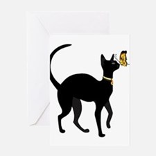 Elegant Black Cat with Gold Collar Greeting Cards