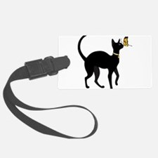 Elegant Black Cat with Gold Coll Luggage Tag