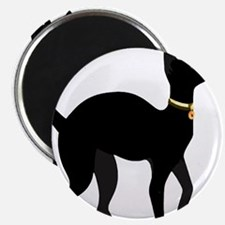Elegant Black Cat with Gold Collar Butterf Magnets