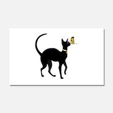 Elegant Black Cat with Gold Col Car Magnet 20 x 12