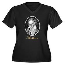 Beethoven Women's Plus Size V-Neck Dark T-Shirt