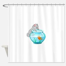 Curious Cat Fishing in Goldfish Bow Shower Curtain