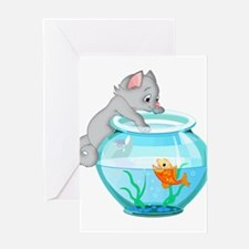 Curious Cat Fishing in Goldfish Bow Greeting Cards