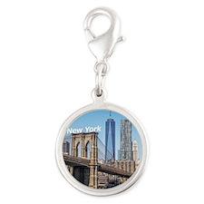 New York Silver Round Charm