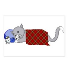 Cat Napping with Blanket, Postcards (Package of 8)
