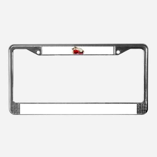 Cat with Ball of Yarn Pillow License Plate Frame
