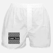 Personalizable Black White Damask Boxer Shorts