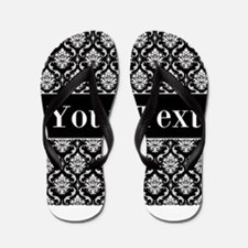 Personalizable Black White Damask Flip Flops
