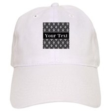 Personalizable Black White Damask Baseball Baseball Cap