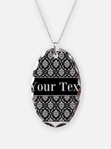 Personalizable Black White Damask Necklace