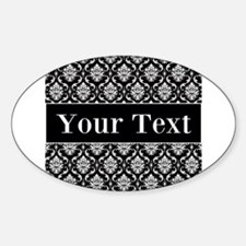 Personalizable Black White Damask Decal