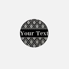 Personalizable Black White Damask Mini Button