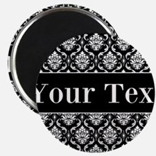 Personalizable Black White Damask Magnets