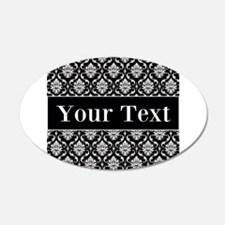 Personalizable Black White Damask Wall Decal