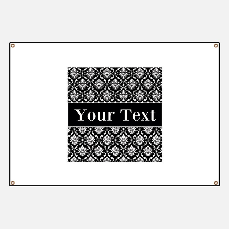 Personalizable Black White Damask Banner
