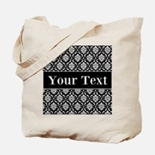 Personalizable Black White Damask Tote Bag